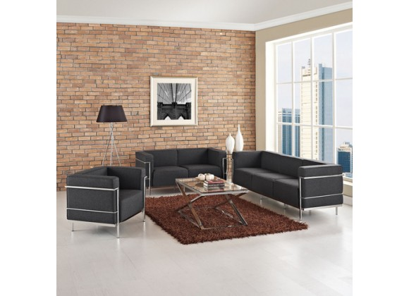 Modway Charles Armchair Loveseat and Sofa Set of 3