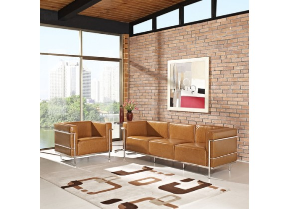 Modway Charles Grande Leather Sofa and Armchair Set Of 2 in Tan