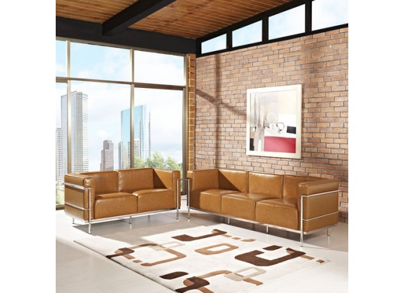 Modway Charles Grande Leather Sofa and Loveseat Set Of 2 in Tan