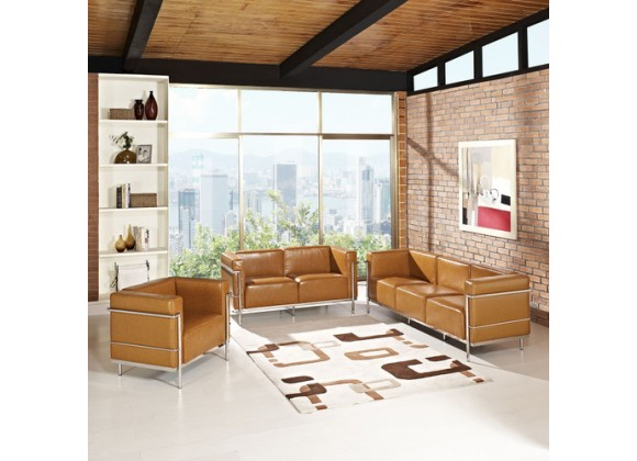Modway Charles Grande Leather Sofa Loveseat and Armchair Set Of 3 in Tan