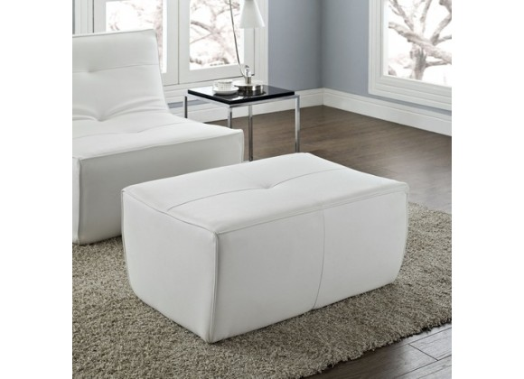 Modway Align Leather Ottoman in White