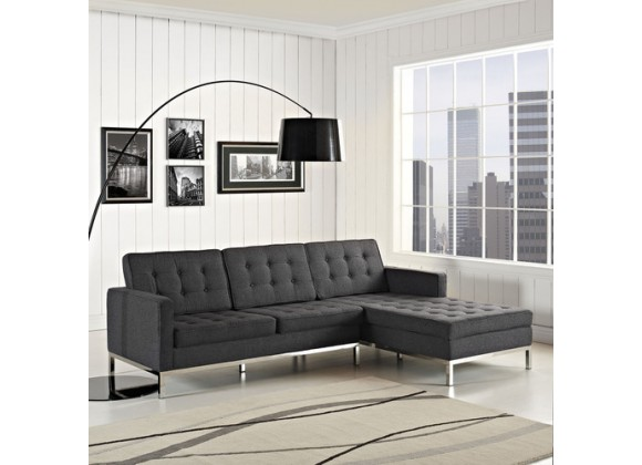 Modway Loft Right-Arm Sectional Sofa in Dark Gray
