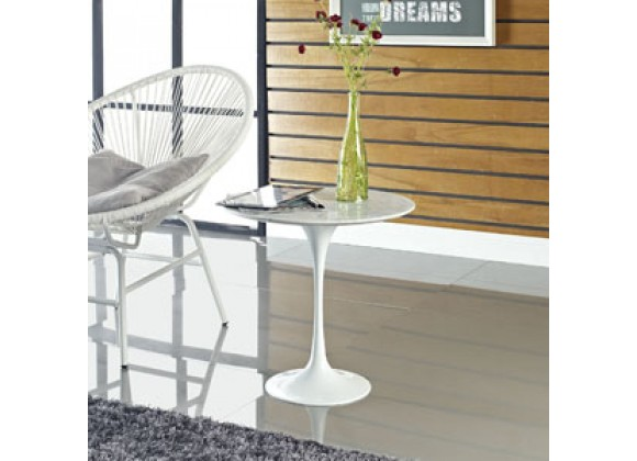 "Modway Lippa 20"" Side Table in White"