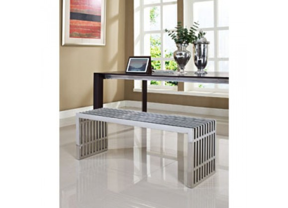 Modway Gridiron Large Bench in Silver