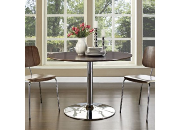 Modway Rostrum Dining Table in Walnut
