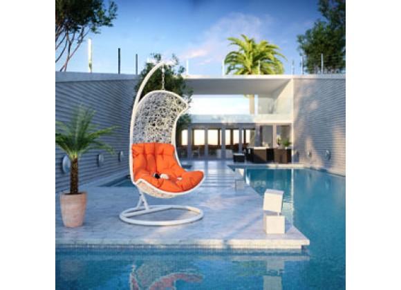 Modway Endow Swing Lounge Chair in White Orange