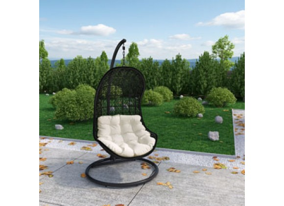 Modway Parlay Swing Lounge Chair in Espresso White