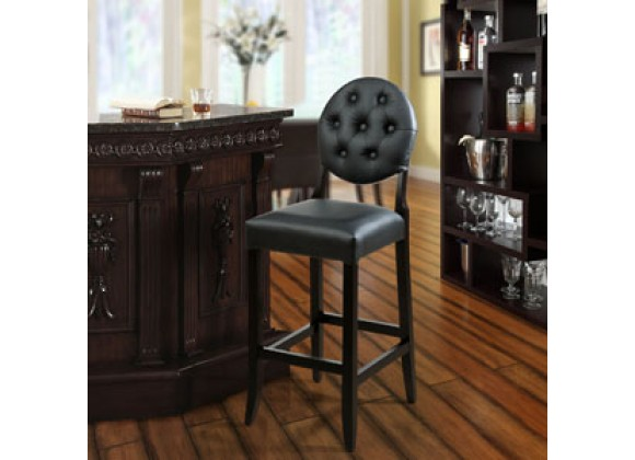 Modway Button Bar Stool in Black