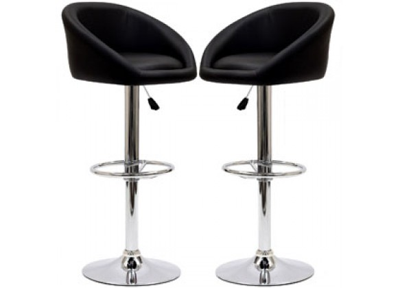 Modway Marshmallow Bar Stools Set of 2 in Black