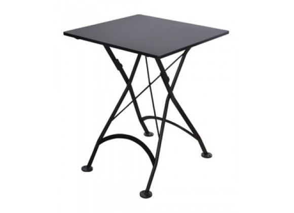 Furniture Designhouse French Cafe Bistro 24' Square Folding Table - Powder Coated Steel Top and Legs - Black, Green and Red
