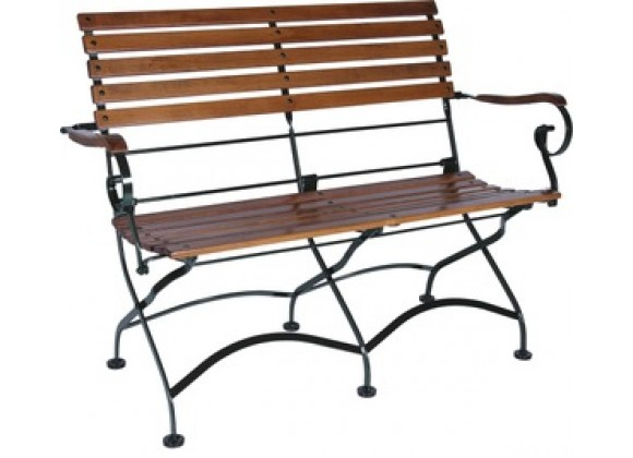 French Café Bistro 2-Seat Folding Bench with Arms