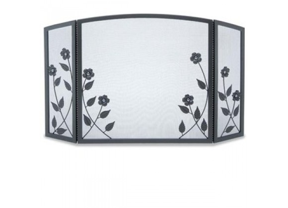 Fireside America Napa Forge 3 Panel Forged Floral Screen - Black