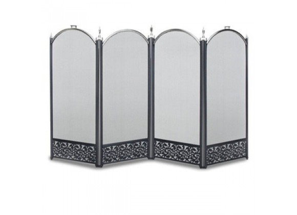 Fireside America Napa Forge Sausalito 4 Panel Screen - Satin Nickel