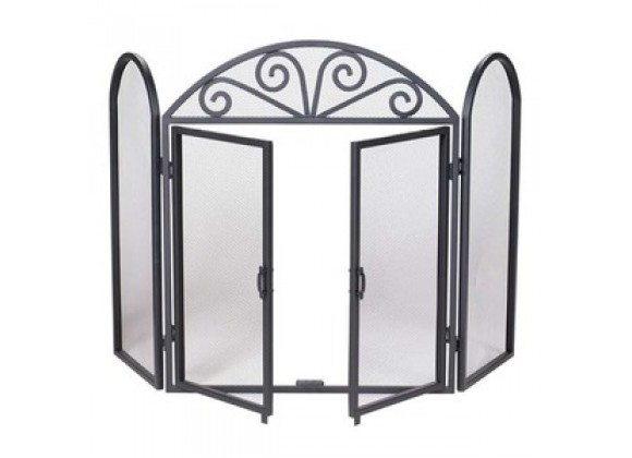 Fireside America 3 Panel Arch Scroll Screen with Doors