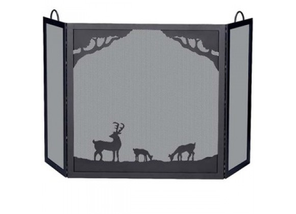 Fireside America 3 Panel Wrought Iron Deer Scene Screen