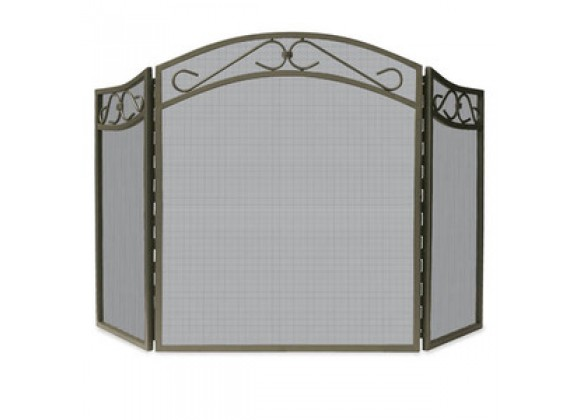 Fireside America 3 Panel Screen With Decorative Scroll