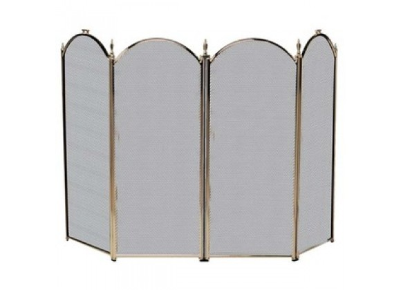 Fireside America Four Panel Arched Screen - Antique Brass