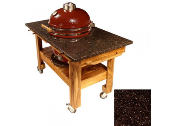 Fireside America Acacia Cart with Black Galaxy Granite Top and Riser