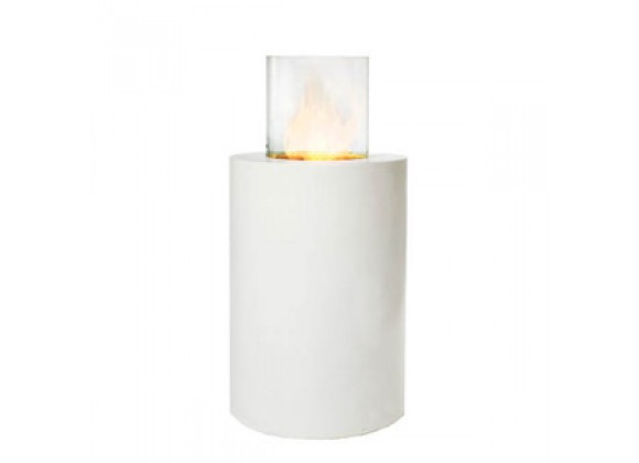 Fireside America Solo Concrete Round Pedestal With Glass Cylinder