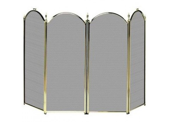 Fireside America Four Panel Arched Screen - Polished Brass