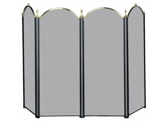 Fireside America Four Panel Arched Screen - Polished Brass / Black