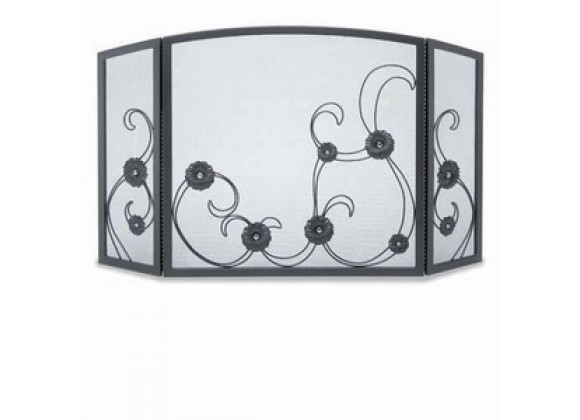 Fireside America Napa Forge 3 Panel Forged Sun Flower Scroll Screen