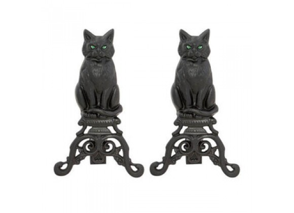 Fireside America UniFlame Cats Andirons with Reflective Glass Eyes