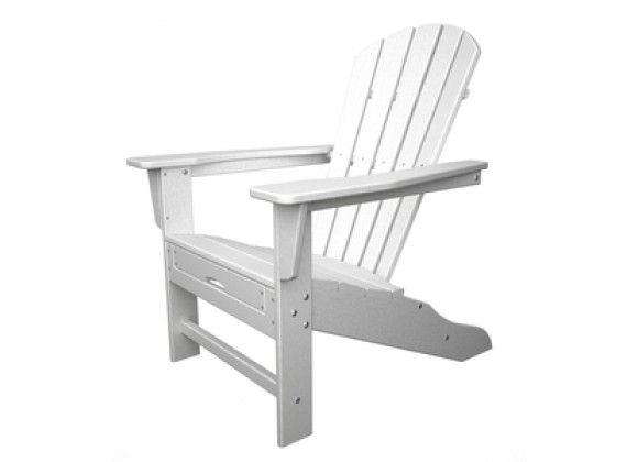 POLYWOOD¨ South Beach Ultimate Adirondack with Hideaway Ottoman in White