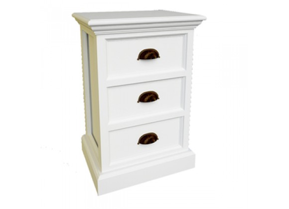 Nova Solo HALIFAX White Mahogany Nightstand with 3 Drawers