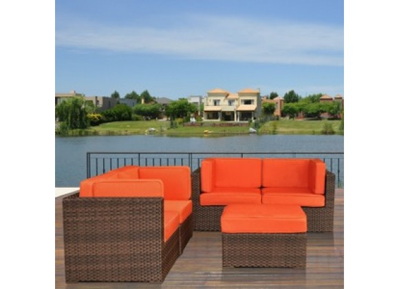 International Home Miami Atlantic Nice Sectional Five Piece Set in Orange