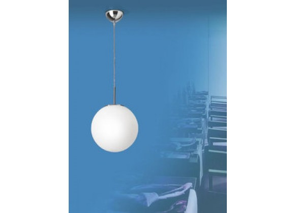 Illuminating Experiences Meltemi Small Opal Glass and Chrome Sphere Pendant - M2793