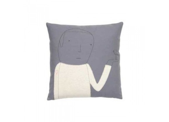 k studio Heart on Sleeve Pillow - Grey