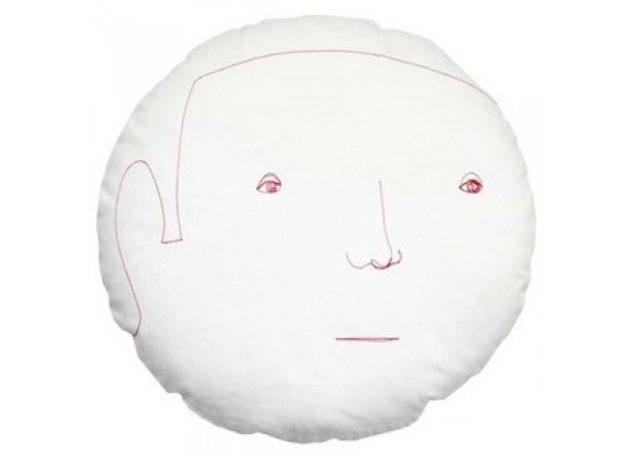 k studio Round Face Male Pillow - White 2