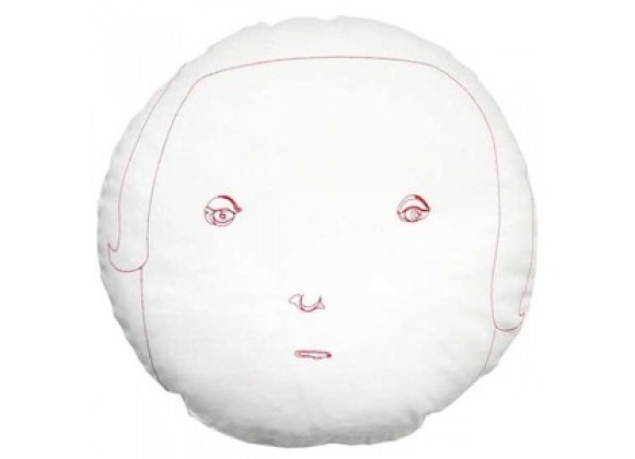 k studio Round Face Female Pillow - White