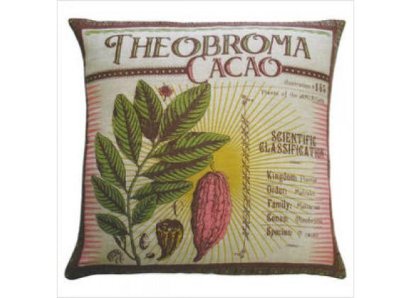 "Koko Company Botanica 20"" x 20"" Linen Pillow with Theobroma Cacao Print"