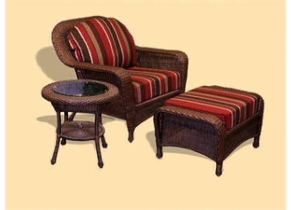 Tortuga Outdoor Sea Pines Club Chair, Ottoman, and End Table