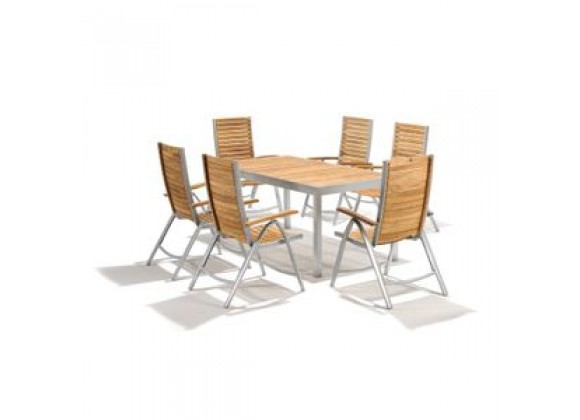 International Home Lazar Teak 7 Piece Rectangle Dining Table and Chair Set