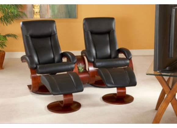 Mac Motion Recliner Black Leather (3 Seats) Merlot Finish