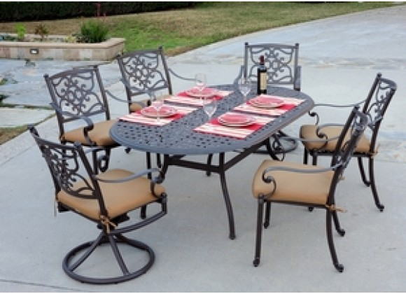 """Meadow Decor Kingston 72"""" Counter Height Table 7pc Set"""