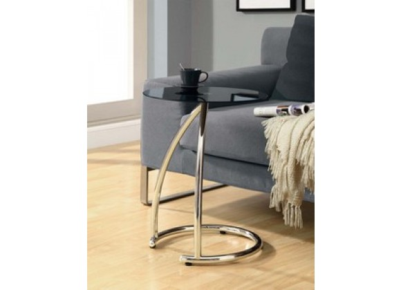 Monarch Specialties Chrome Metal Accent Table With Black Tempered Glass