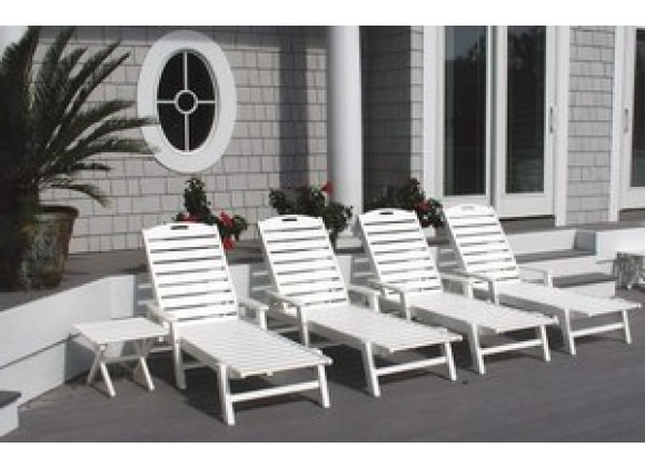 POLYWOOD¨ Nautical Wheeled Chaise with Arms - Stackable