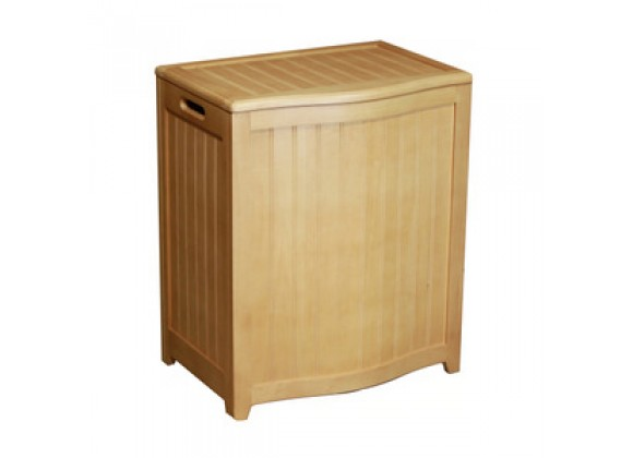 Natural Finished Bowed Front Laundry Wood Hamper