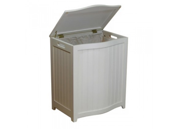 White Finished Bowed Front Laundry Wood Hamper - Lid Opened