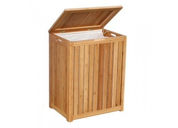 Oceanstar Spa-Style Bamboo Laundry Hamper - Lid Opened