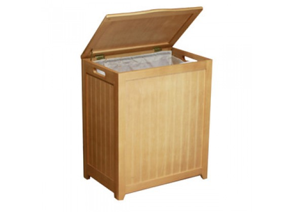 Natural Finished Rectangular Laundry Wood Hamper - Lid Opened