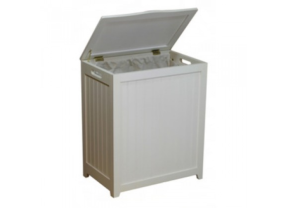 White Finished Rectangular Laundry Wood Hamper
