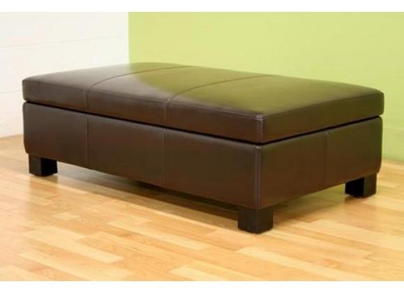 Baxton Studio Gallo Dark Brown Leather Storage Ottoman