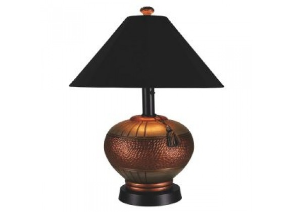"Patio Concepts 60"" Phoenix Outdoor Copper Table Lamp with Black Sunbrella Shade"