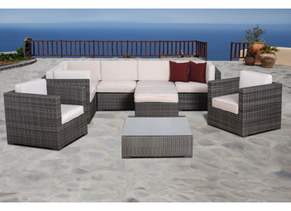 International Home Miami Atlantic Southampton 9 pc Grey Wicker Seating Set with Cushions