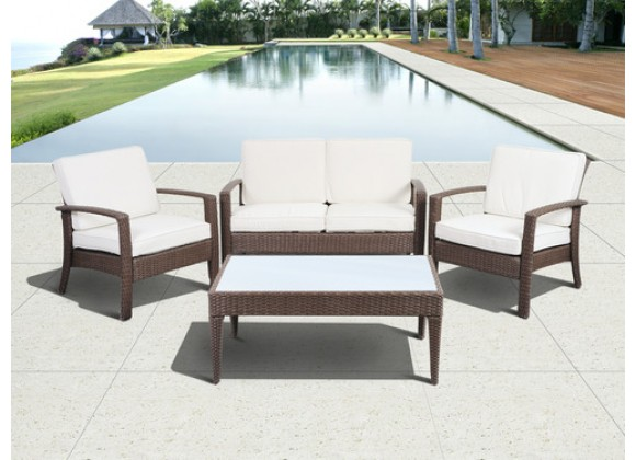 International Home Miami Atlantic Florida Deluxe 3 Piece Wicker Patio Conversation Set with Cushions
